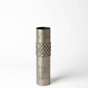 Antique Nickel Four-Inch Textural Band Medium Vase