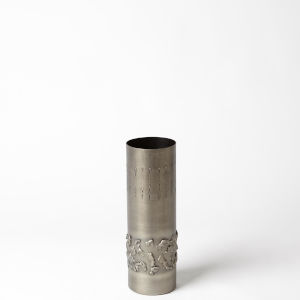 Antique Nickel Four-Inch Textural Band Small Vase
