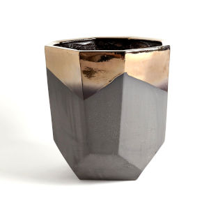 Bronze and Gray 17-Inch Faceted Banded Porcelain Container