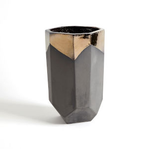 Bronze and Gray 10-Inch Faceted Banded Porcelain Container