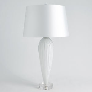 White Teardrop Glass Table Lamp