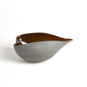 Frosted Gray and Amber 7-Inch Decorative Bowl