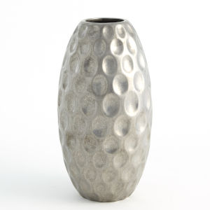 Silver 8-Inch Dimple Vase