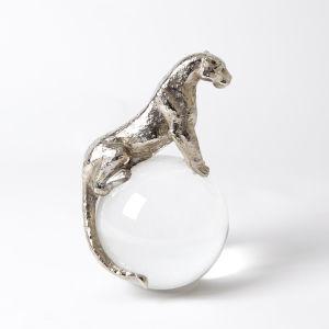 Nickel Six-Inch Jaguar on Crystal Sphere Figurine