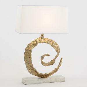 Brass and White Marble Swirl Table Lamp