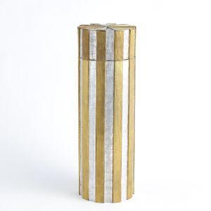 Nickel and Brass 6-Inch Metal Vertical Stripe Box