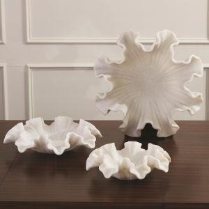 Rajnagar White Marble 18-Inch Ruffle Bowl