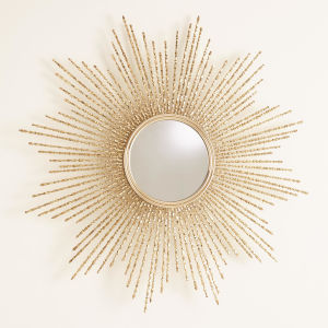 Brass Square Beaded Large Mirror