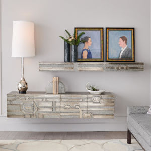 Abstract Shiny Silver and White 72-Inch Floating Shelf