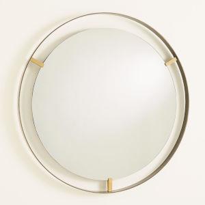 Floating Dark Bronze Mirror With Brass Clips