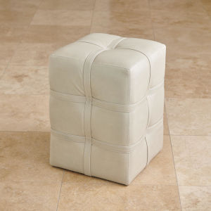 Light Gray Marble Leather Belted Pouf