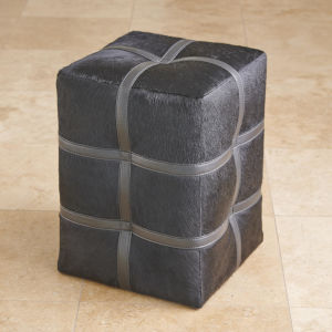 Black 14-Inch Belted Pouf