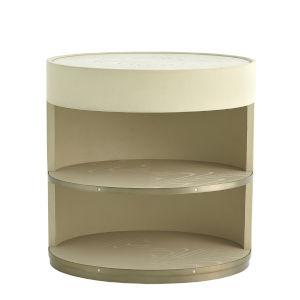 Ellipse Ivory and Pewter Bedside Cabinet