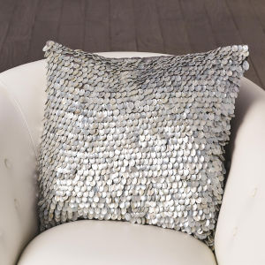 Studio A Home Gray Mother of Pearl Beaded Pillow
