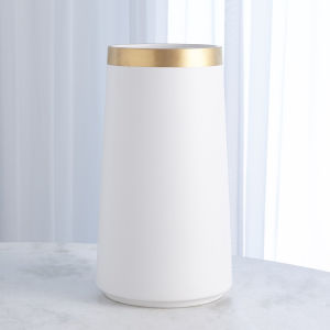 Studio A Home White Large Modern Gold Banded Vase