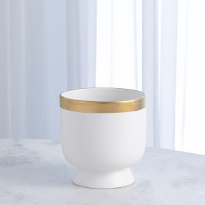 Studio A Home White Small Modern Gold Banded Vase