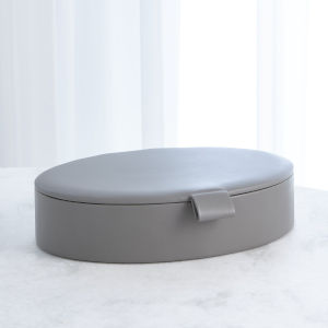Studio A Home Marble Gray Large Signature Oval Leather Box