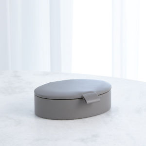 Studio A Home Marble Gray Small Signature Oval Leather Box