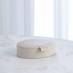 Studio A Home White Small Signature Oval Leather Box