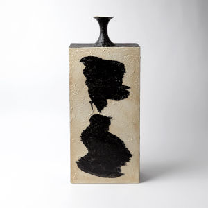 Studio A Home Cream and Black Tall Thetis Vase