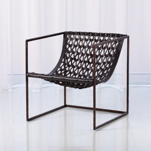 Studio A Home Bronze and Dark Brown Knit and Pearl Chair