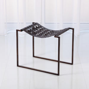 Studio A Home Bronze and Dark Brown Knit and Pearl Stool