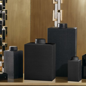 Grid Texture Medium Black Jar