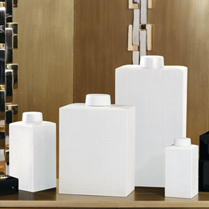 Grid Texture Medium White Jar