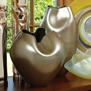 Plait Silver Haze Round Vase