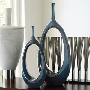 Celestial Blue Large Open Oval Ring Vase Only