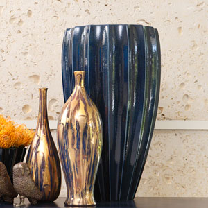 Ink Blue Fluted Vase