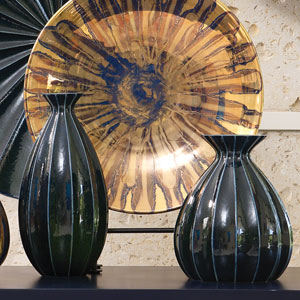 Ink Blue Wide Fluted Cinched Vase Only