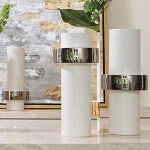Silver Ring Low Vase
