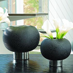 Silver Banded Black Sphere Large Vase
