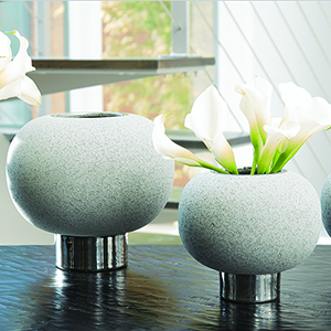 Silver Banded Grey Sphere Small Vase