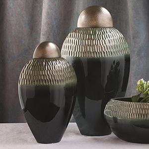 Carved Pewter and Aqua Large Lidded Urn