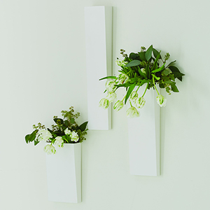 White Pyramid Medium Wall Vase