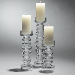 Glass Ribbed Medium Candleholder