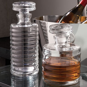 Clear Tall Ribbed Decanter