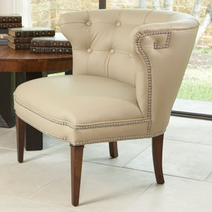 Greek Key Klismos Beige with Nickel Tacks Chair