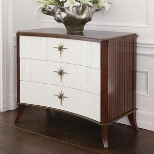 Klismos Three-Drawer Walnut and Ivory Cabinet