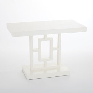 Grid Block White Side Table