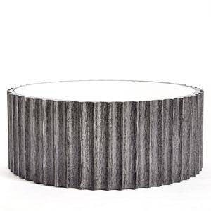 Reflective Black Cerused Oak Column Cocktail Table