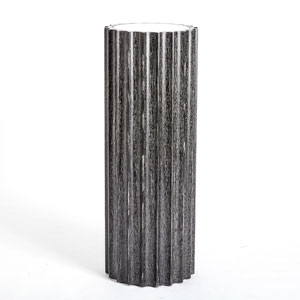 Reflective Black Cerused Oak Column Pedestal