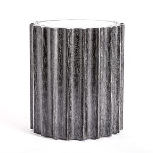 Reflective Black Cerused Oak Column Side Table