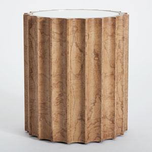 Reflective Olive Ash Burl Column Side Table