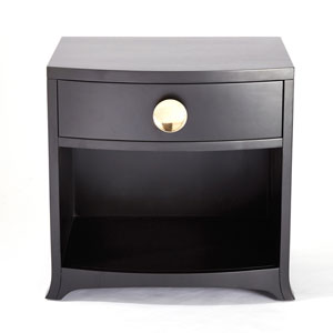 Bow Front One-Drawer Ebony Dresser