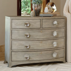 Bow Front Five-Drawer Grey Dresser
