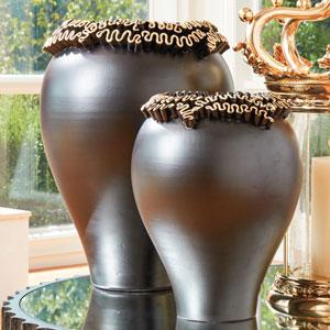 Squiggles Black with Gold Leaf Large Vase