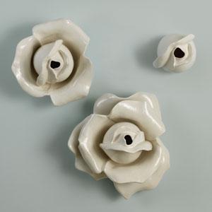 White Rose Three-Petal Wall Brooch